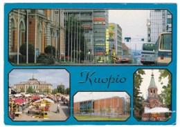 Kuopio Finland Multi-view Street Scene, Market, On C1990s Vintage Postcard, 1992 Expo Stamp - Finland