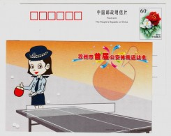 Table Tennis,China 2005 Suzhou Police Bureau First Sports Meeting Advertising Pre-stamped Card - Tafeltennis