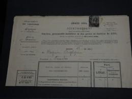 FRANCE - Type Sage Seul Sur Avis De Contributions Foncières Du Calvados 1894- A Voir - L15 - Storia Postale
