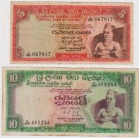 SRI LANKA PR. OF 5 & 10 RUPEE NOTES IN A VERY NICE GRADE. - Sri Lanka