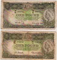 AUSTRALIA X 2 QEII ONE DOLLAR $1. NOTES IN A  NICE COLLECTIBLE GRADE. - Emissioni Governative Pre-decimali 1913-1965