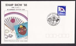 Korea Commemorative Postmark Stamp Show'88 Tokyo Mask Fan (ft058) - Japan