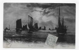 BATEAUX DE PECHE EN 1906 - N° 11 - FIN DE JOURNEE EN MER - BEAU CACHET - CPA VOYAGEE - 75 - Fishing Boats