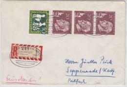 BRD - Aachen - Hagen (Westf) Bahnpost Zug 2353, Einschreibebrief Wickrath 1960 - R- Und V-Zettel