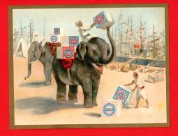 Huntley & Palmers, Jolie Chromo Cadre Doré, Port, Déchargement De Colis, éléphants - Confiserie & Biscuits