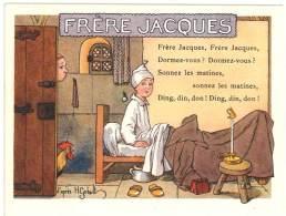 Chromo Alcool De Menthe Ricqlès, Frères Jacques, Signée Gerbault, Partition De Musique Au Verso - Autres