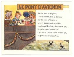 Chromo Alcool De Menthe Ricqlès, Le Pont D'Avignon, Signée Gerbault, Partition De Musique Au Verso - Autres