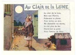 Chromo Alcool De Menthe Ricqlès, Au Clair De La Lune, Signée Gerbault, Partition De Musique Au Verso - Chromos