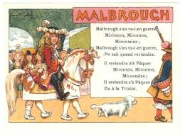 Chromo Alcool De Menthe Ricqlès, Malbrough S'en Va-t-en Guerre, Signée Gerbault, Partition De Musique Au Verso - Chromos