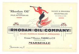Carte Commerciale Rhodan Oil Company, Huiles Pour Automobiles, Marseille ( Huiles Minérales Russes Et Américaines ) - Advertising