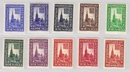 Österreich - Lot 10 Vignetten Internationale Postwertzeichen Ausstellung Wien 1933 ** WIPA 1933 - 1918-1945 1. Republik