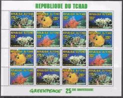 Republique Du Tchad 1996 Greenpeace Corals 4x4v Sheetlet ** Mnh (F5227) - Tsjaad (1960-...)