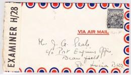 GB Kol. Barbados 12.1943 Zensur Luftpost Brief Nach St Lucia Ankunfts-O Vieux Fort + Castries - Barbades (...-1966)