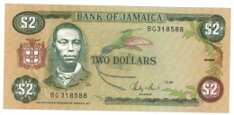 Jamaica, 2 Dollars 1986, AUNC. Rare, Free Ship. To USA - Jamaique