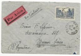 1932 - YVERT N° 261 SEUL SUR LETTRE Par AVION De ARRAS (PAS DE CALAIS) Pour BUENOS AIRES (ARGENTINE) Via TOULOUSE - Marcophilie (Lettres)