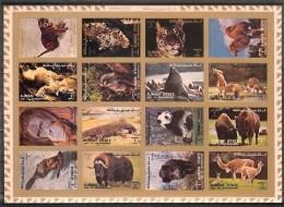 AJMAN  Animals(panda,camel,tiger) Sheetlet Of 16 Stamps Imper. MNH - Briefmarken