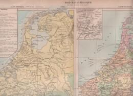 1896 - CARTE PHYSIQUE ET POLITIQUE DES PAYS BAS ET BELGIQUE PAR MM. DRIOUX ET Ch. LEROY - N° 57-58 - WATERLOO - Geographical Maps