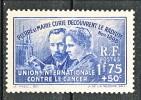 Francia 1938 Pierre E Marie Curie Y&T N. 402 Fr 1,75 + 50 MNH - Francia