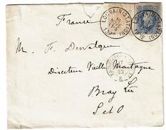 28 + 31  Lettre Obl Louvain Vers France  Recto  Erquelinnes A Paris N° 1  Verso  Cachet Arrivée - 1869-1883 Léopold II