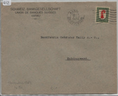 Pro Juventute 1926 J38 Baselland - Schweiz. Bankgesellschaft Aarau Nach Schönenwerd (Bally AG) - Pro Juventute