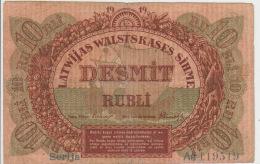 Latvia 10 Rubli 1919 Pick 4b AFine - Latvia
