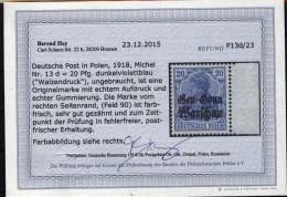 Deutsche Post In Polen,13d,xx,Befund Hey BPP (4130) - Besetzungen 1914-18