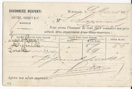 1876 - CARTE PRECURSEUR ENTIER TYPE CERES Avec REPIQUAGE (SAVONNERIE) De MARSEILLE Pour LANGRES - Postal Stamped Stationery