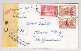Kanada 17.10.1942 Prince George Zensur R-Brief Nach Klosters-Platz GR Rückseite Transit Und AK-Stempel - 1937-1952 George VI