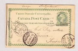 Kanada 14.1.1889 Hamilton Ganzsache Two Cents Nach Cernier Schweiz - 1851-1902 Victoria