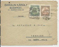 1926 - HONGRIE - ENVELOPPE Avec RARE MECA PSEUDO DAGUIN Pour La FOIRE De BUDAPEST Pour VERNIER (SUISSE) - Marcophilie
