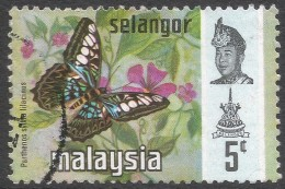 Selangor(Malaysia). 1971 Butterflies. 5c Used. SG 148 - Malaysia (1964-...)