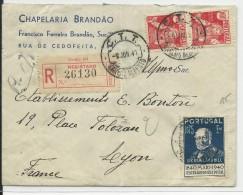 PORTUGAL - 1941 - ENVELOPPE RECOMMANDEE De PORTO Pour LYON - Marcophilie