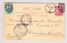 Australien NSW 7.9.1900 Sydney AK Sydney Harbor Nach Constantinople Turkey (British Post Office) Via Alexandria Suez - 1850-1906 New South Wales