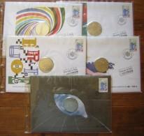 Lot De 5 Enveloppes FDC Avec Médailles Du 27 Avril 1991, Voir Description Et Photos - FDC
