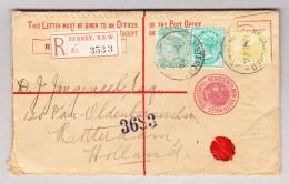 Australien NSW 13.7.1912 Sydney R-Ganzsache Nach Holland Mit Zusatzfrankatur NSW, Tasmania Und Western Australia - Briefe U. Dokumente