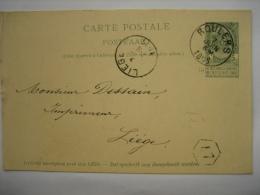 Entier Postal Armoiries ROULERS 1899 Vers LIEGE - Signé Sylvie STOCK - Enteros Postales