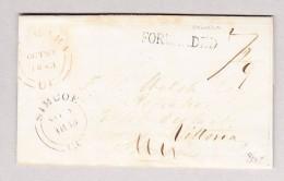 Kanada 30.10.1843 Niagara Rot Vorphila Brief Nach Simcoe Weitergeleitet  (Forwarded Langstempel) Nach Vittoria - Kanada