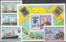 "Mauritanie 1979: Michel-No. 636-639 + Block 24 ** MNH ""Sir Rowland Hill & Ships"" - Rowland Hill"