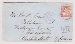 Schweiz 13.4.1875 Oberstrass Zürich Brief Nach Pottstown PA USA Mit 50Rp Sitzende Helvetia - 1862-1881 Sitzende Helvetia (gezähnt)