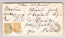 Schweiz 4.2.1875 Genève Chargé Siegel Wertbrief Nach Paris Mit 20Rp Und 1Fr. Sitzende Helvetia - 1862-1881 Helvetia Assise (dentelés)
