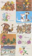 Lot 10 Verschiedene Schmuckblatt Telegramme  Lx Ungebraucht  DDR Cat Katzen Music Wintersport Rosen Tulpen - Old Paper