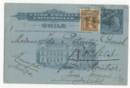 CHILI - 1908 - CARTE ENTIER POSTAL ILLUSTREE De SANTIAGO Pour ROCHES (JURA SUISSE) - Chili