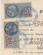 1953 FISCAUX Sur POUVOIR Crédit Agricole . MONTPELLIER CENTRALISATEUR  Hérault Sur 15F GANDON. 1953.