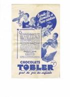 Double Page Publicité Chocolats TOBLER Jouets Enfants Avion Poupée Fer à Repasser Appareil Photo Poste T.SF. LAMPE - Werbung
