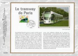 """FRANCE 2006 : CEF 1° Jour En SOIE N° 1863s """" LE TRAMWAY DE PARIS """". N° YT 3995. Parfait état. - Tramways"""