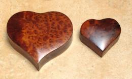 Bijoux- Accessoires – 2 Boîtes De Rangement Coeur En Thuya - Boîtes/Coffrets