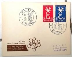 FRANCE Idée Européenne. Europa, Yvert 1173/74 FDC Enveloppe 1er Jour. PARIS GF 13/9/1958 - Idées Européennes