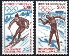 CENTRAFRIQUE Jeux Olympiques Grenoble Mexico 68. Yvert N° 57/8 ** MNH. - Verano 1968: México