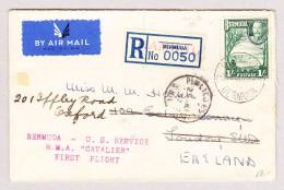Bermuda Jan.1937 Hamilton Flugpost R-Brief Nach London Weiter Nach Oxford GB - Bermudes