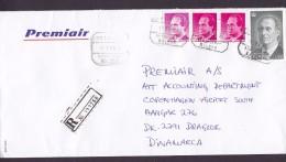 Spain PREMIAIR Registered Certificado Label AEROPUERTO MALAGA 1998 Cover Letra Denmark Juan Carlos Sellos - 1931-Heute: 2. Rep. - ... Juan Carlos I